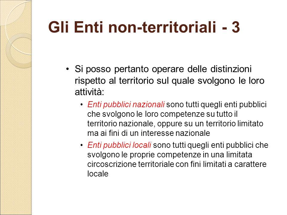 Gli Enti non-territoriali - 3