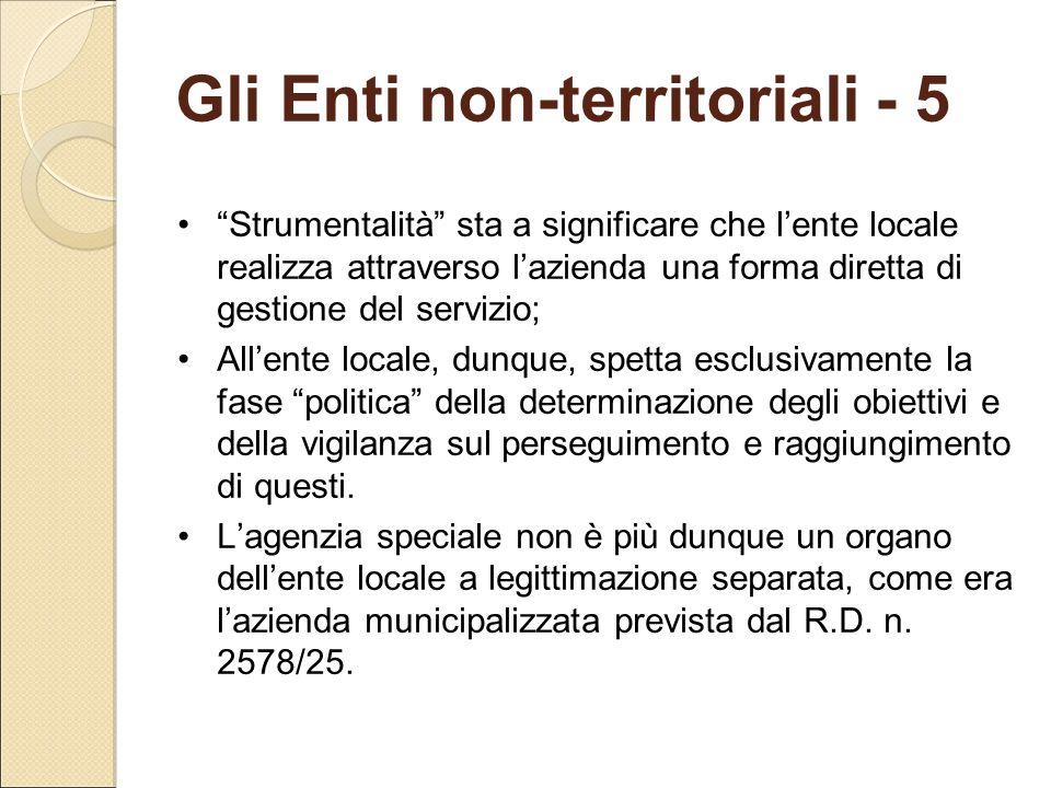 Gli Enti non-territoriali - 5