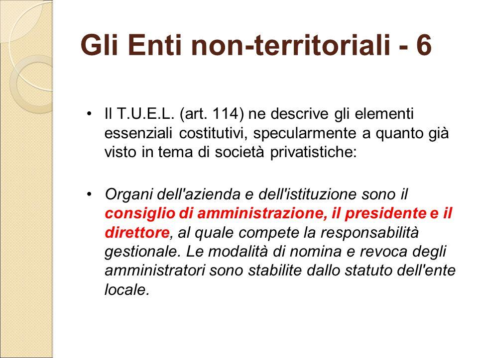 Gli Enti non-territoriali - 6