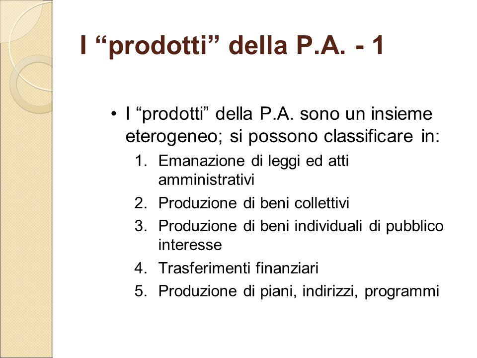 I prodotti della P.A. - 1 I prodotti della P.A. sono un insieme eterogeneo; si possono classificare in: