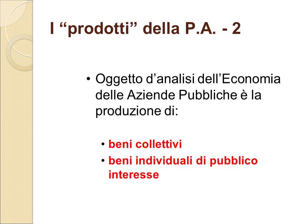 I prodotti della P.A. - 2 Oggetto d'analisi dell'Economia delle Aziende Pubbliche è la produzione di: