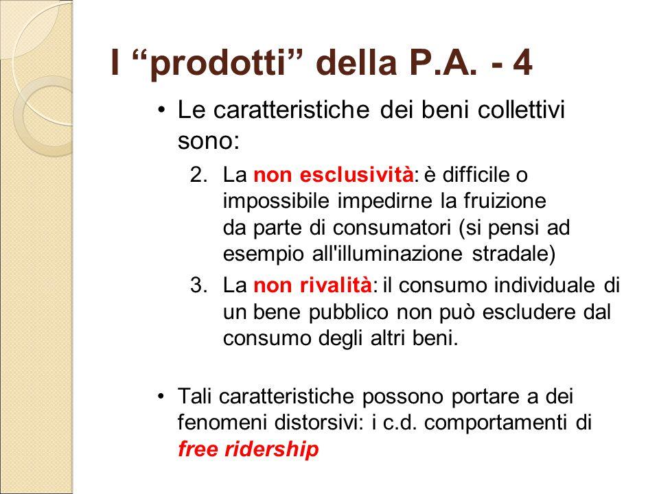 I prodotti della P.A. - 4 Le caratteristiche dei beni collettivi sono: