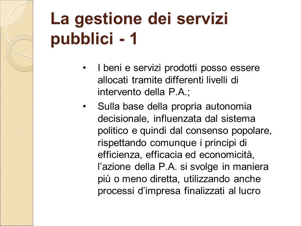 La gestione dei servizi pubblici - 1