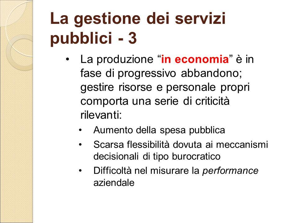 La gestione dei servizi pubblici - 3