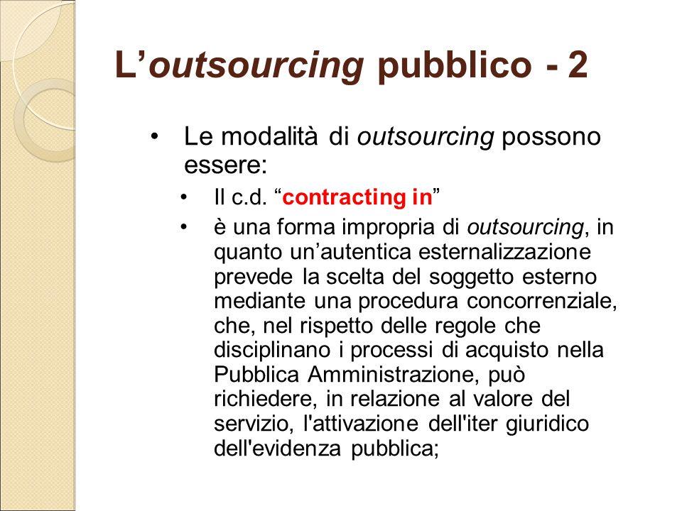 L'outsourcing pubblico - 2