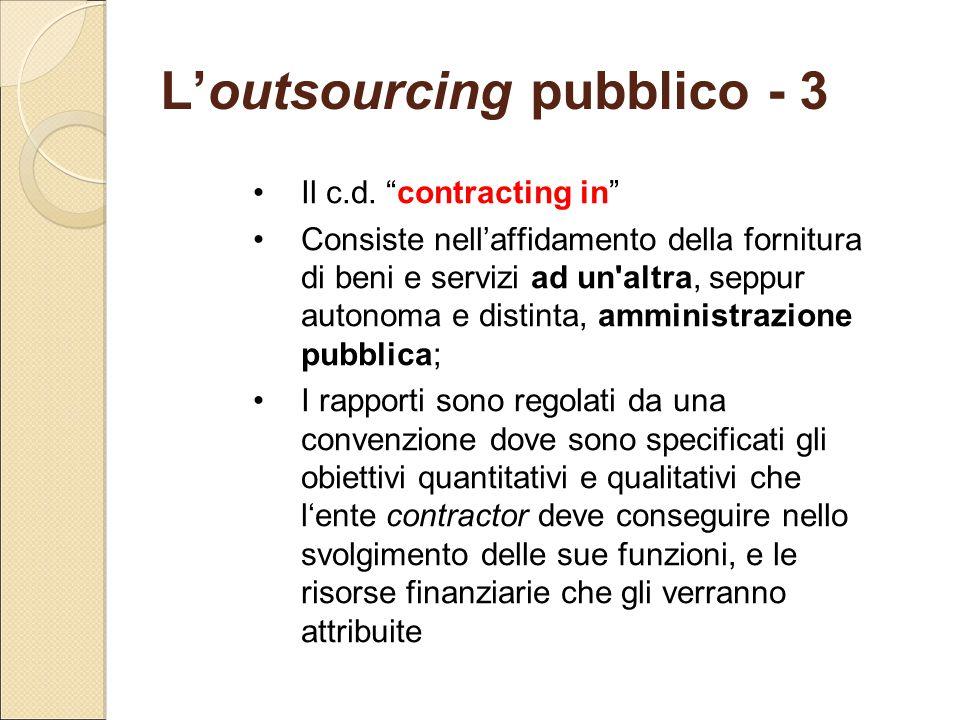 L'outsourcing pubblico - 3