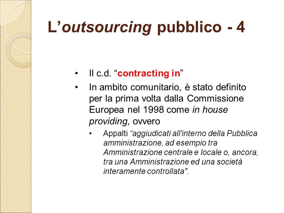 L'outsourcing pubblico - 4