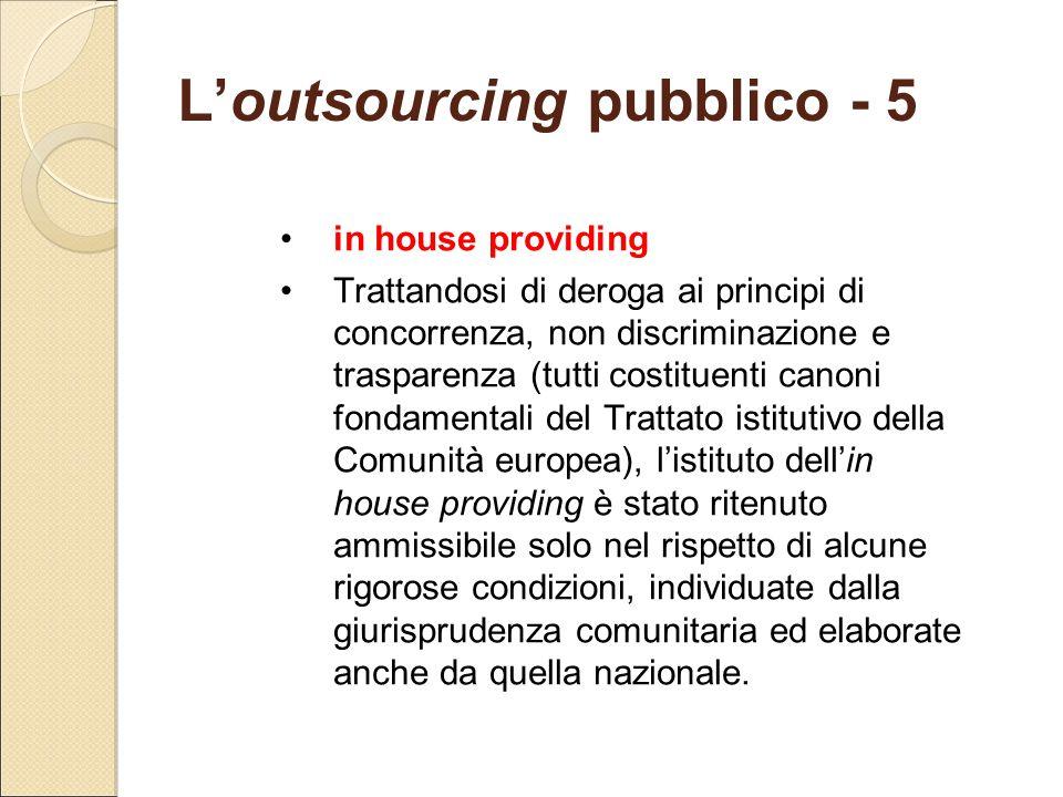 L'outsourcing pubblico - 5