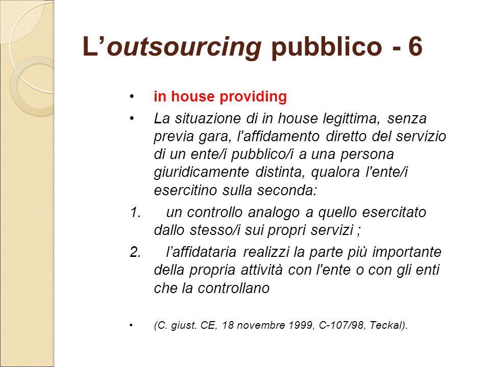 L'outsourcing pubblico - 6