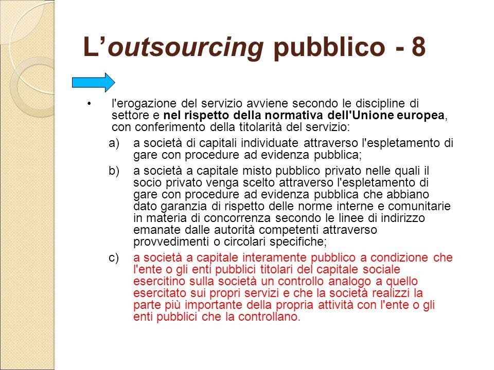 L'outsourcing pubblico - 8