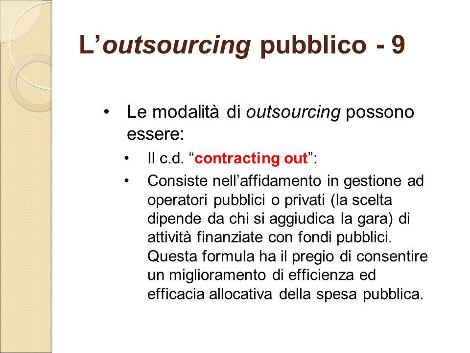 L'outsourcing pubblico - 9