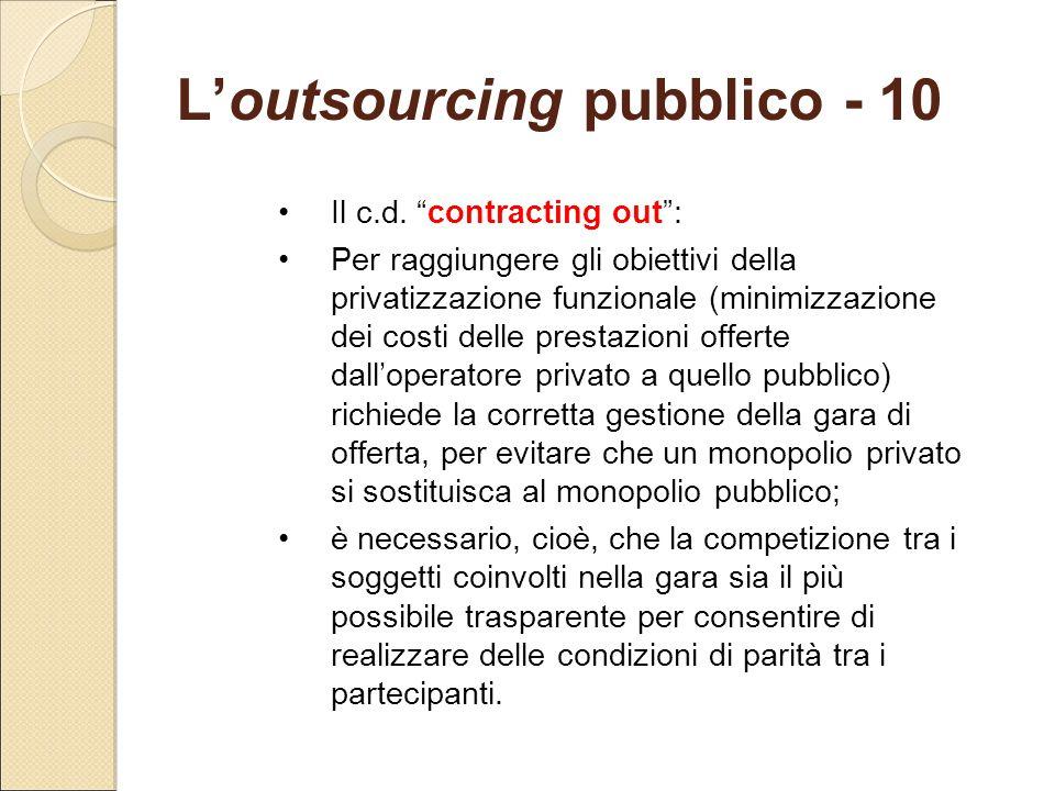 L'outsourcing pubblico - 10