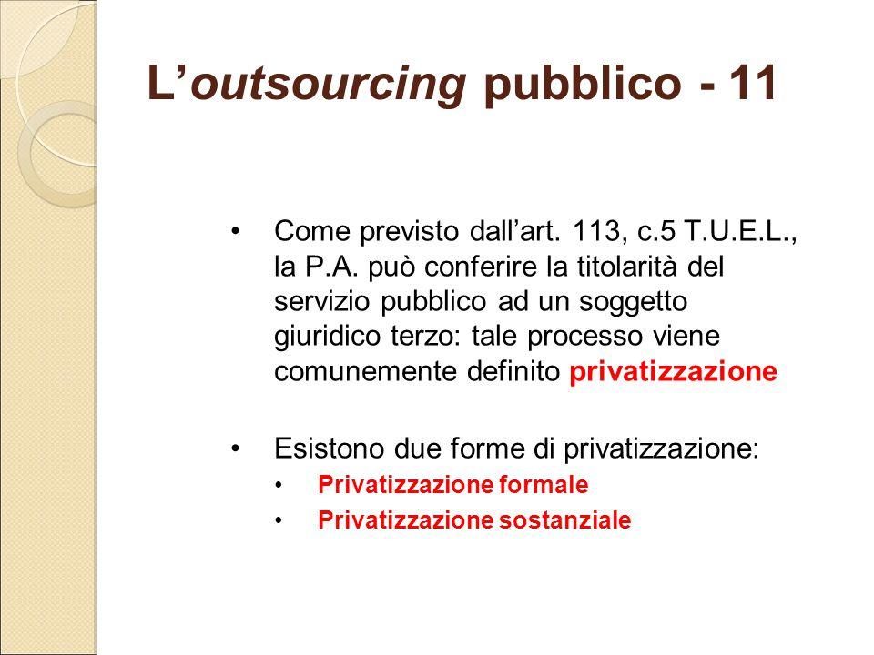 L'outsourcing pubblico - 11