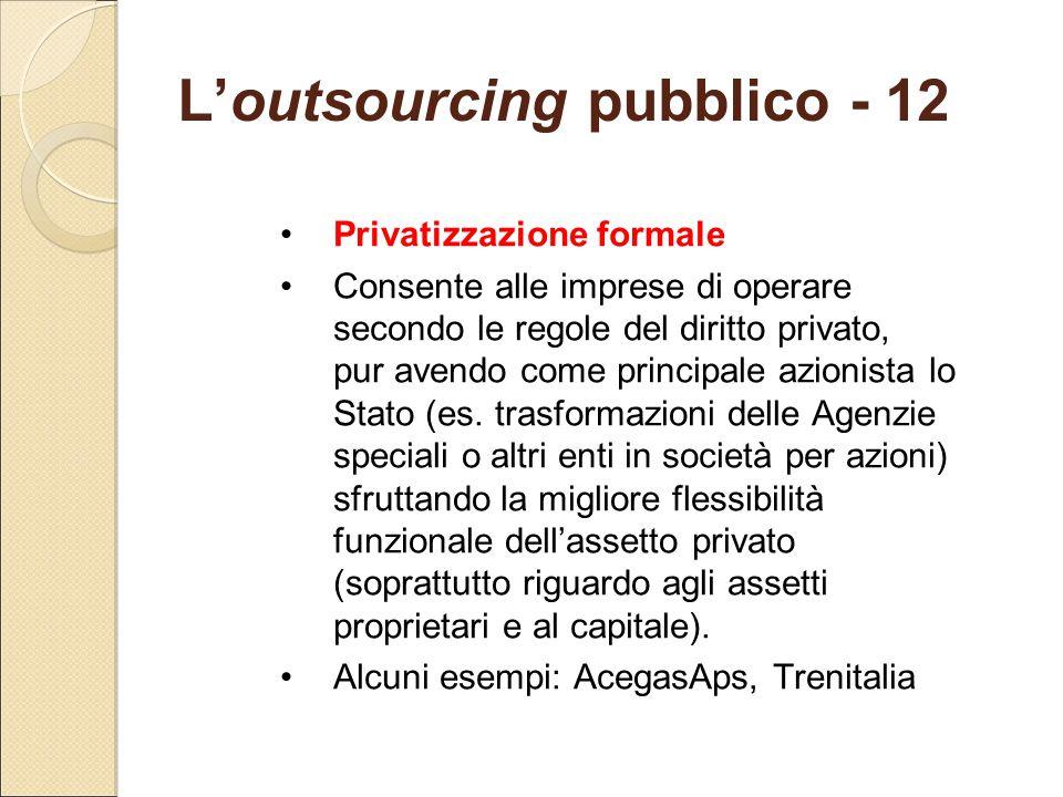 L'outsourcing pubblico - 12