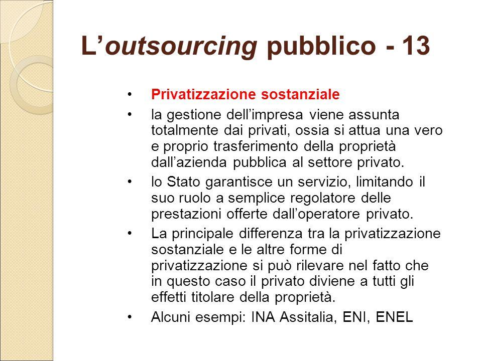 L'outsourcing pubblico - 13
