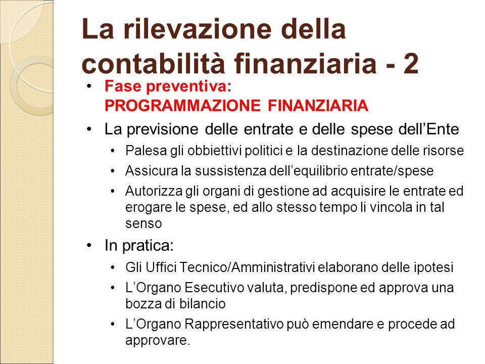 La rilevazione della contabilità finanziaria - 2