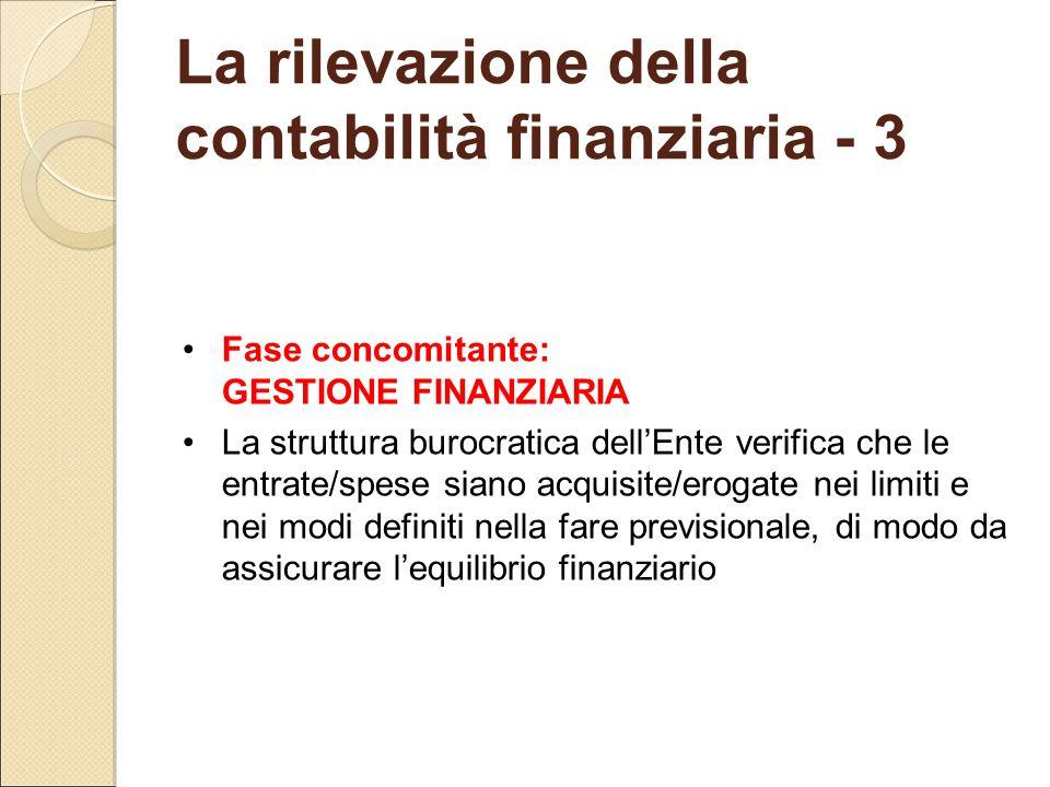 La rilevazione della contabilità finanziaria - 3