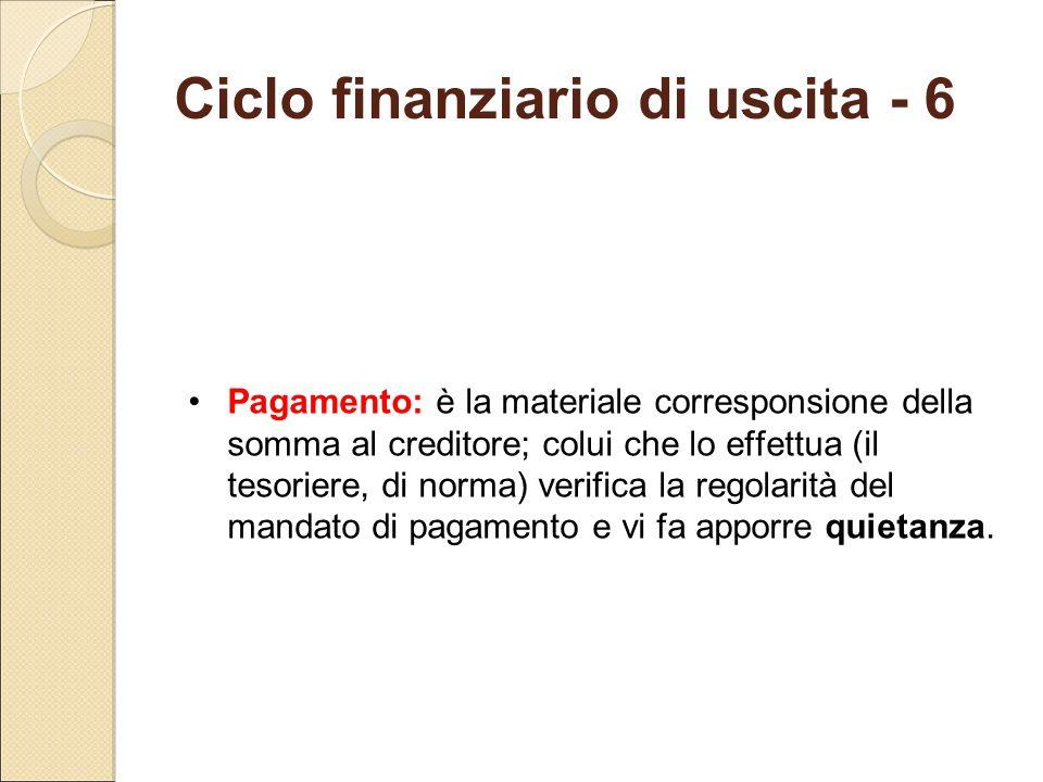 Ciclo finanziario di uscita - 6