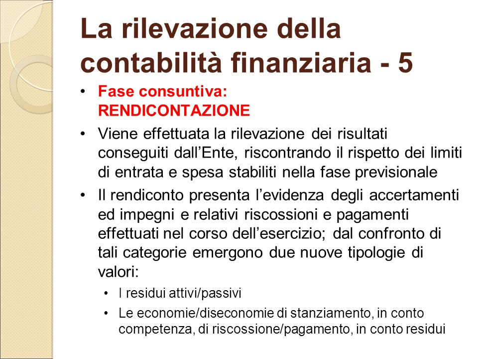La rilevazione della contabilità finanziaria - 5