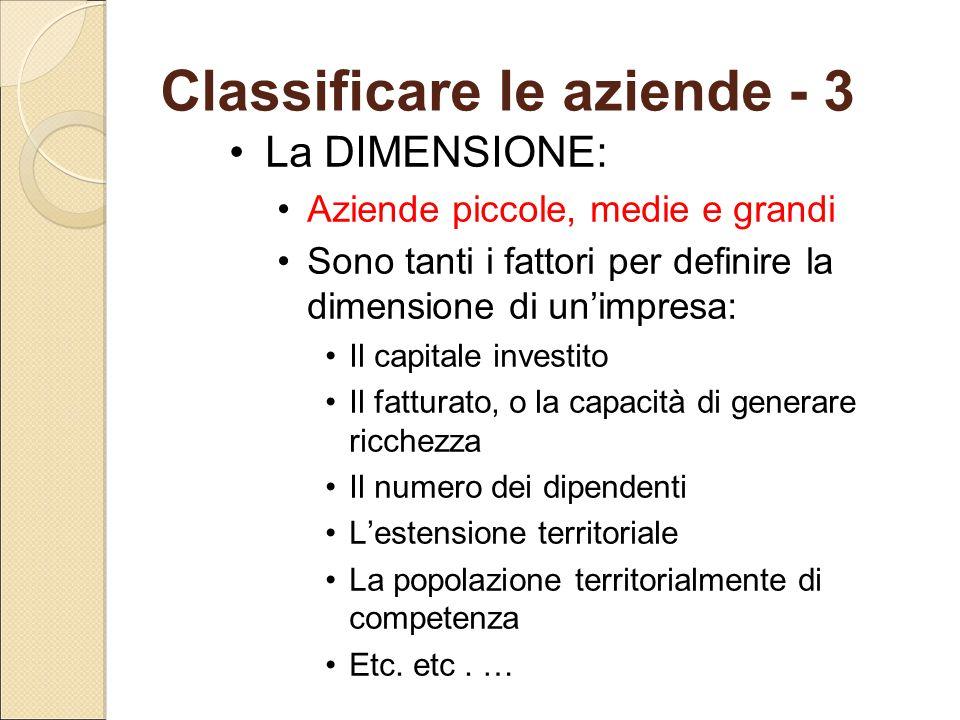 Classificare le aziende - 3