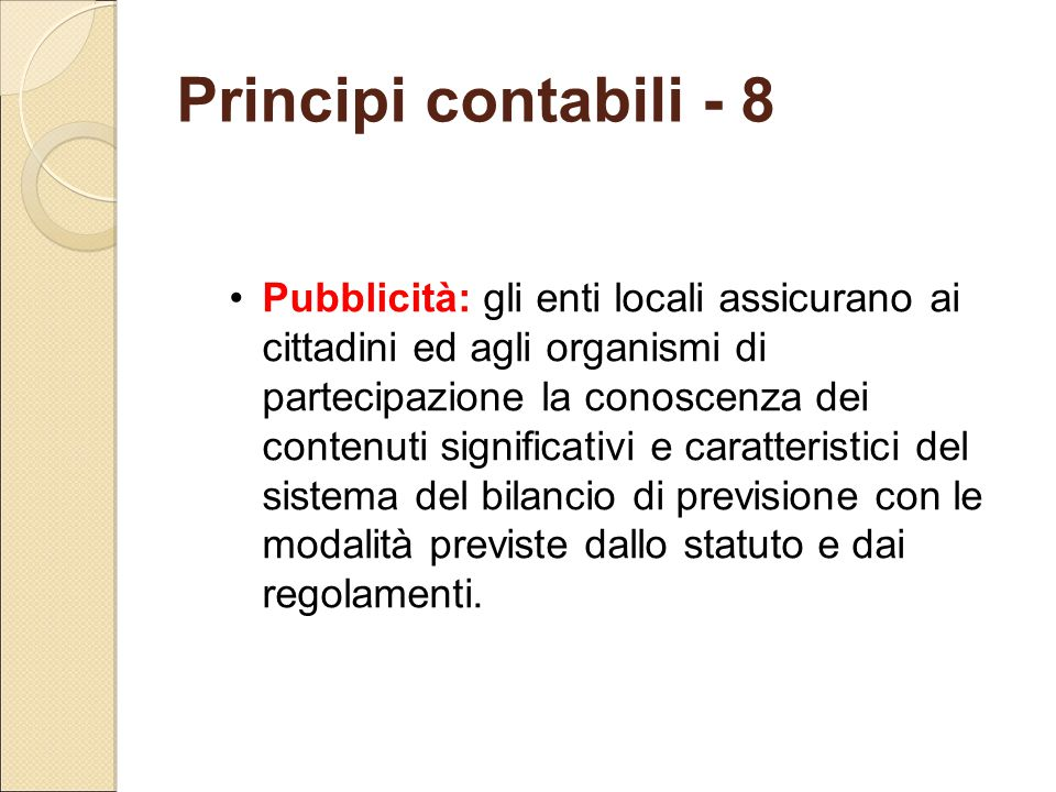 Principi contabili - 8