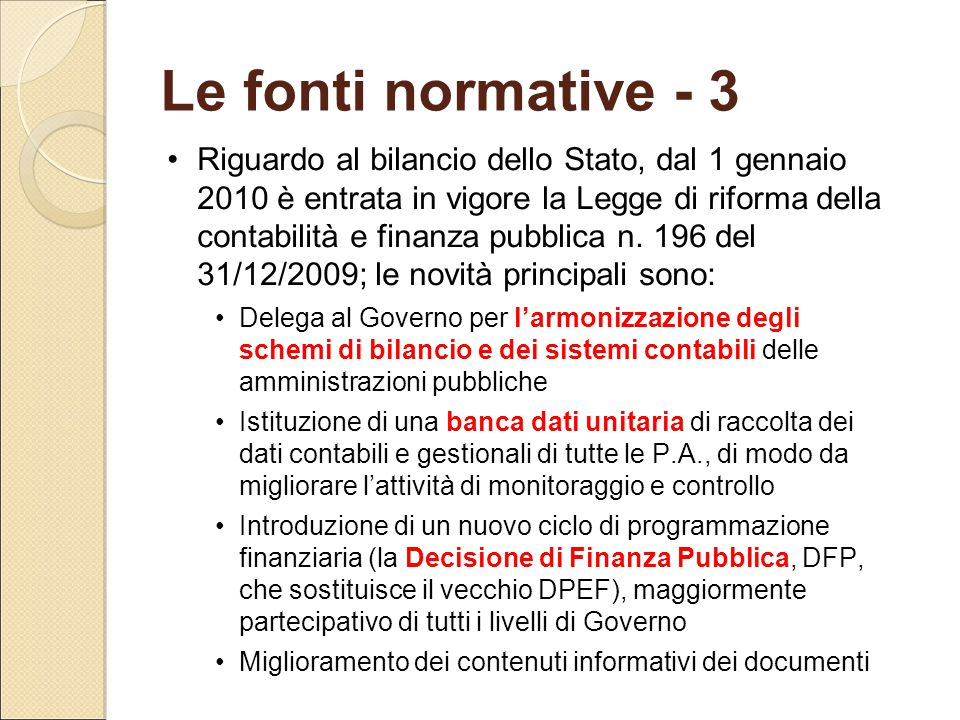 Le fonti normative - 3