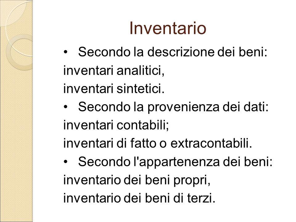 Inventario Secondo la descrizione dei beni: inventari analitici,