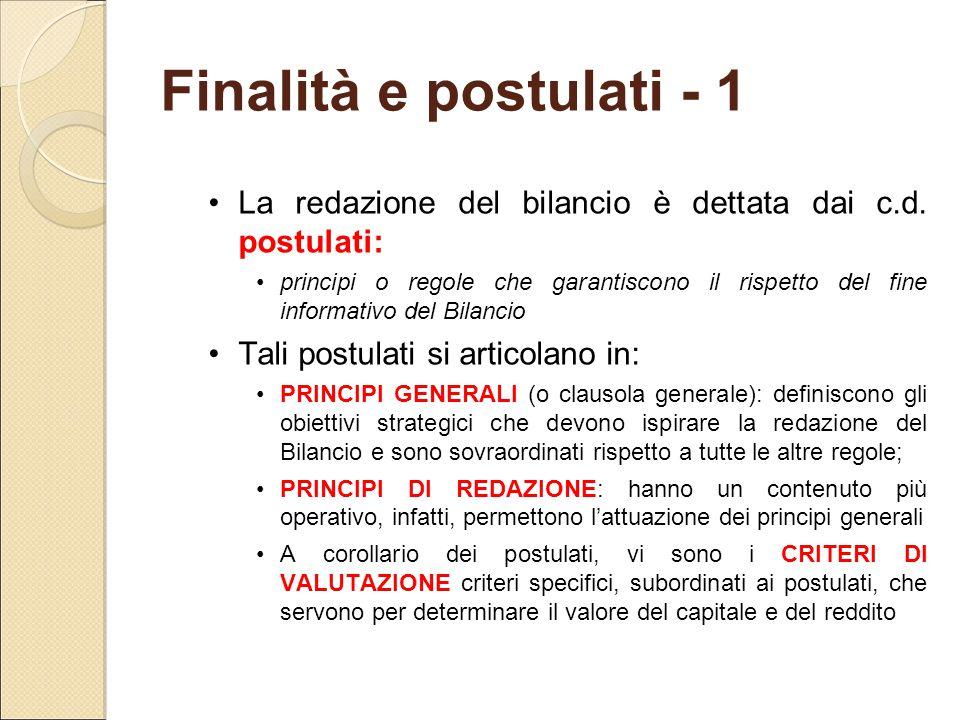 Finalità e postulati - 1 La redazione del bilancio è dettata dai c.d. postulati: