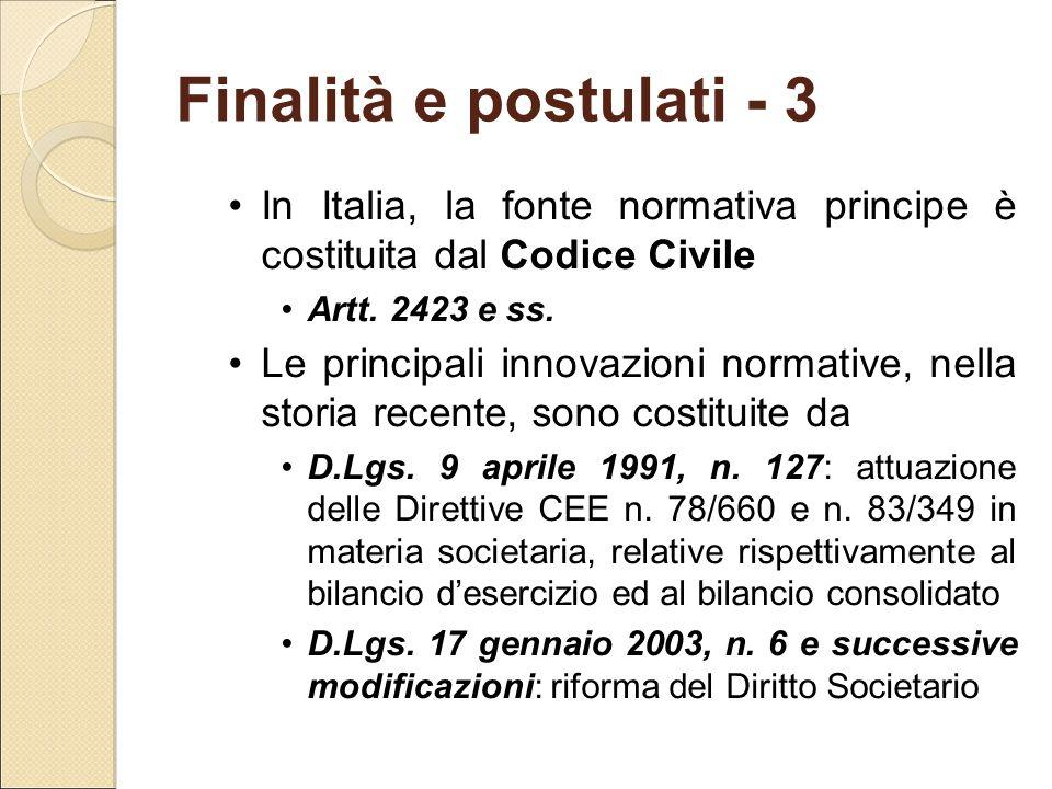 Finalità e postulati - 3 In Italia, la fonte normativa principe è costituita dal Codice Civile. Artt. 2423 e ss.