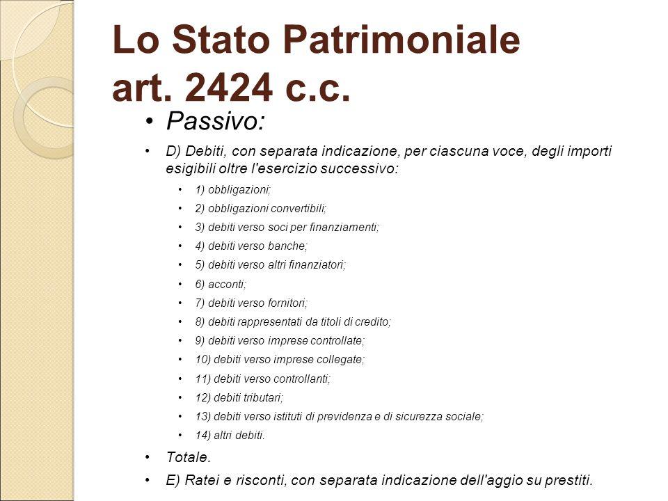 Lo Stato Patrimoniale art. 2424 c.c.