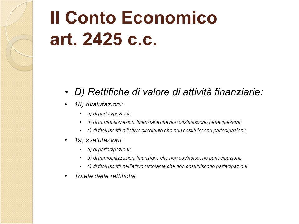Il Conto Economico art. 2425 c.c.