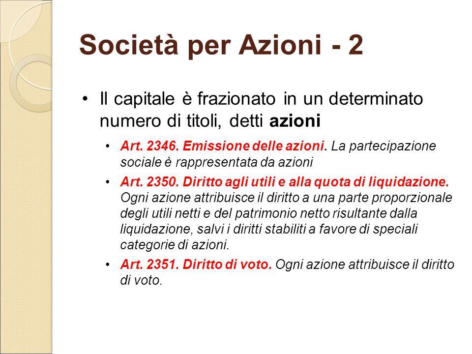 Società per Azioni - 2 Il capitale è frazionato in un determinato numero di titoli, detti azioni.