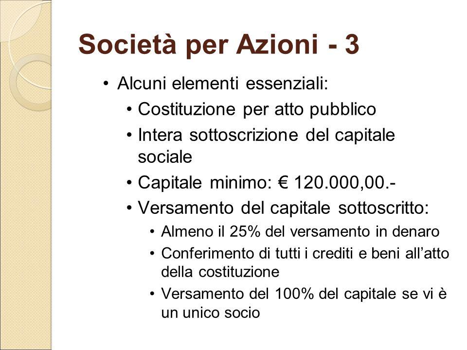 Società per Azioni - 3 Alcuni elementi essenziali: