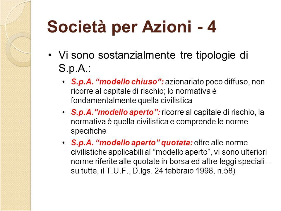 Società per Azioni - 4 Vi sono sostanzialmente tre tipologie di S.p.A.: