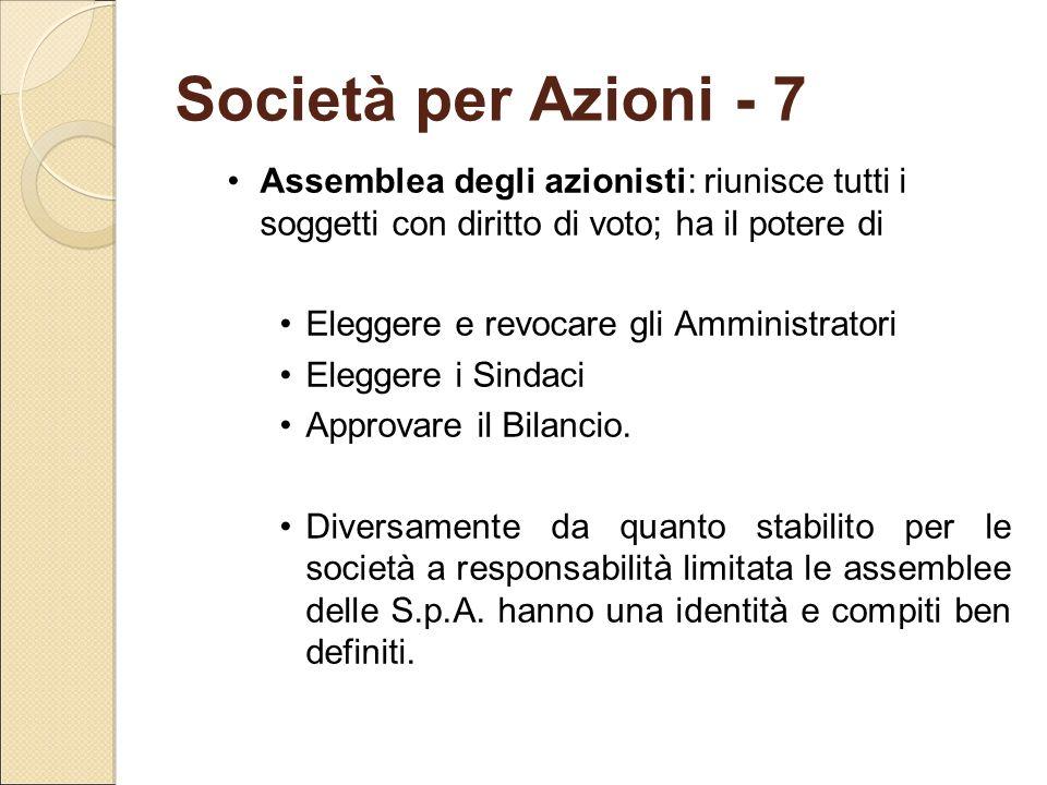 Società per Azioni - 7 Assemblea degli azionisti: riunisce tutti i soggetti con diritto di voto; ha il potere di.
