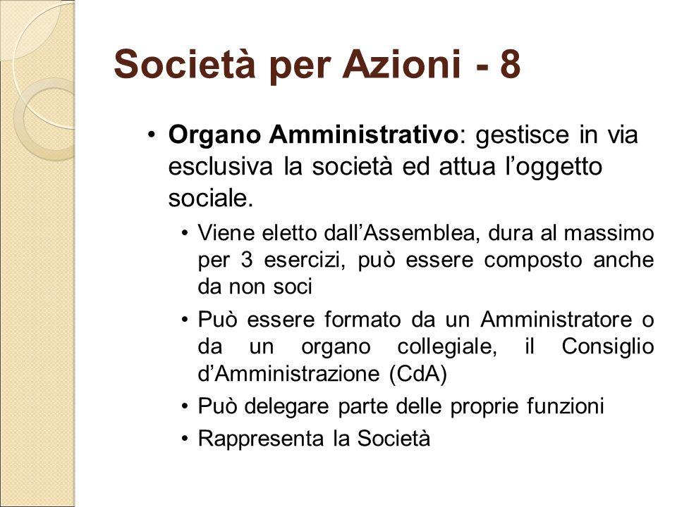 Società per Azioni - 8 Organo Amministrativo: gestisce in via esclusiva la società ed attua l'oggetto sociale.