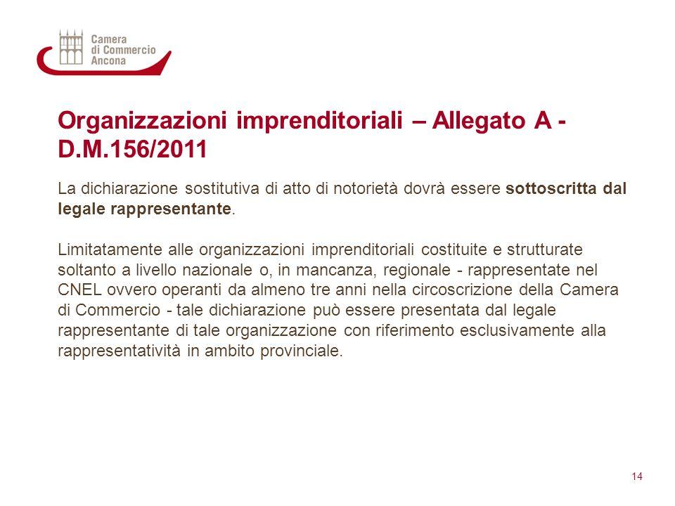 Organizzazioni imprenditoriali – Allegato A - D.M.156/2011