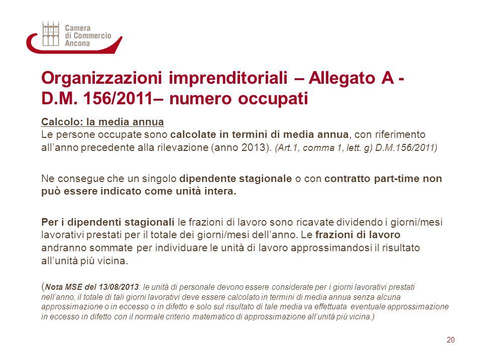 Organizzazioni imprenditoriali – Allegato A - D. M