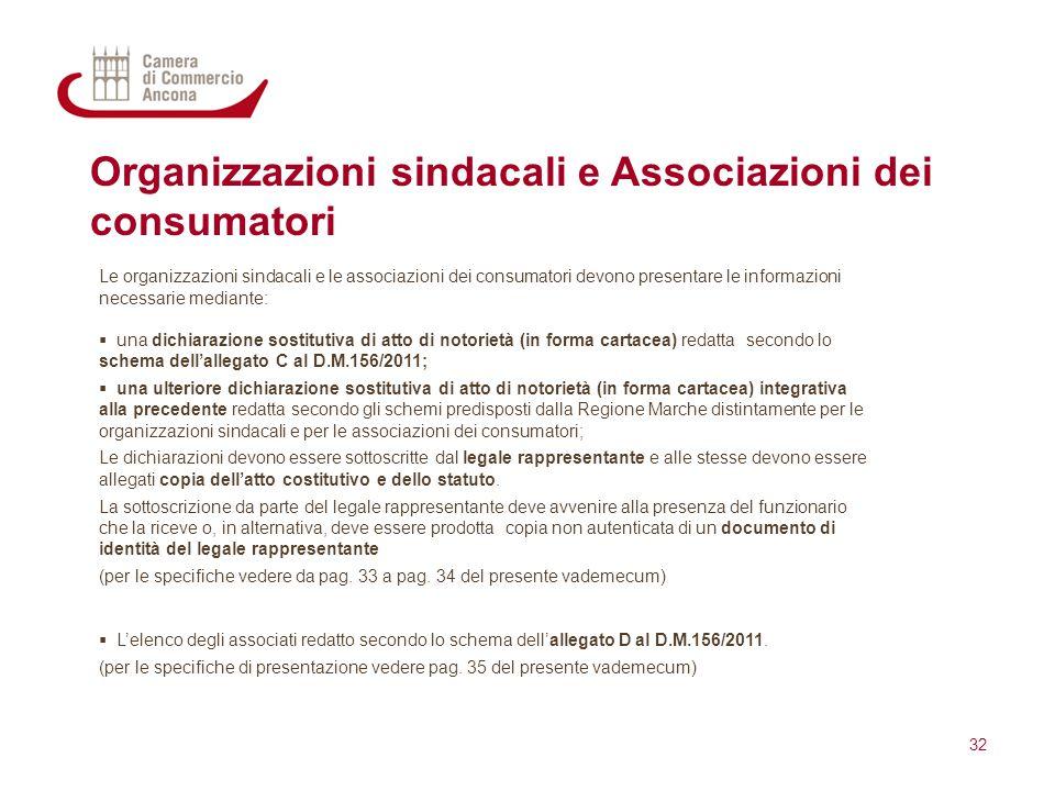 Organizzazioni sindacali e Associazioni dei consumatori