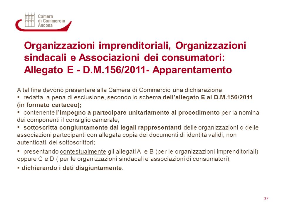 Allegato E - D.M.156/2011- Apparentamento