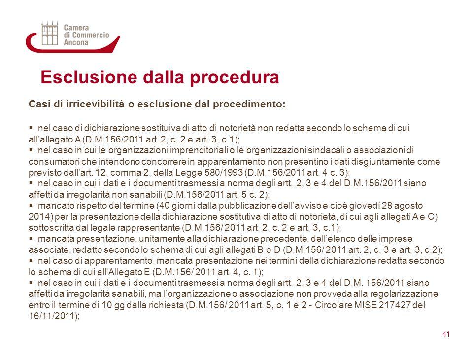Esclusione dalla procedura