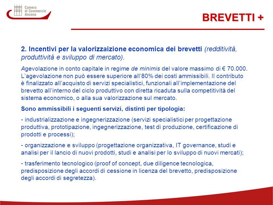BREVETTI + 2. Incentivi per la valorizzaizione economica dei brevetti (redditività, produttività e sviluppo di mercato).