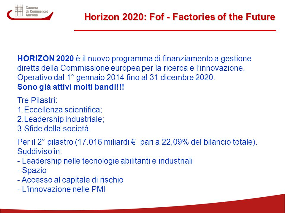 Horizon 2020: Fof - Factories of the Future
