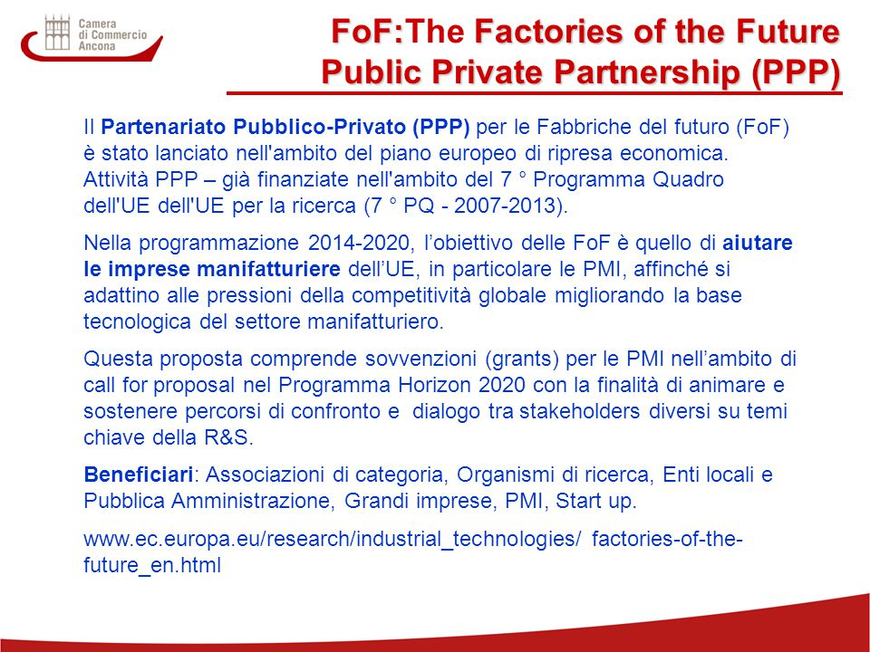 FoF:The Factories of the Future Public Private Partnership (PPP)