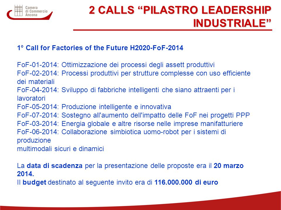 2 CALLS PILASTRO LEADERSHIP INDUSTRIALE