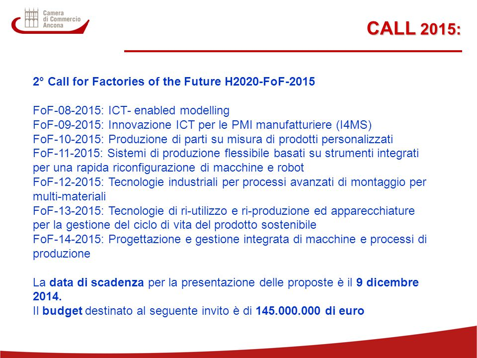 CALL 2015: 2° Call for Factories of the Future H2020-FoF-2015