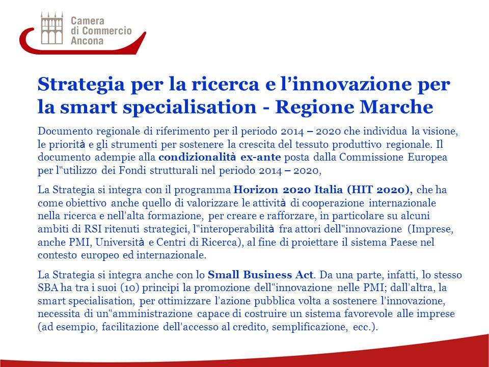 Strategia per la ricerca e l'innovazione per la smart specialisation - Regione Marche