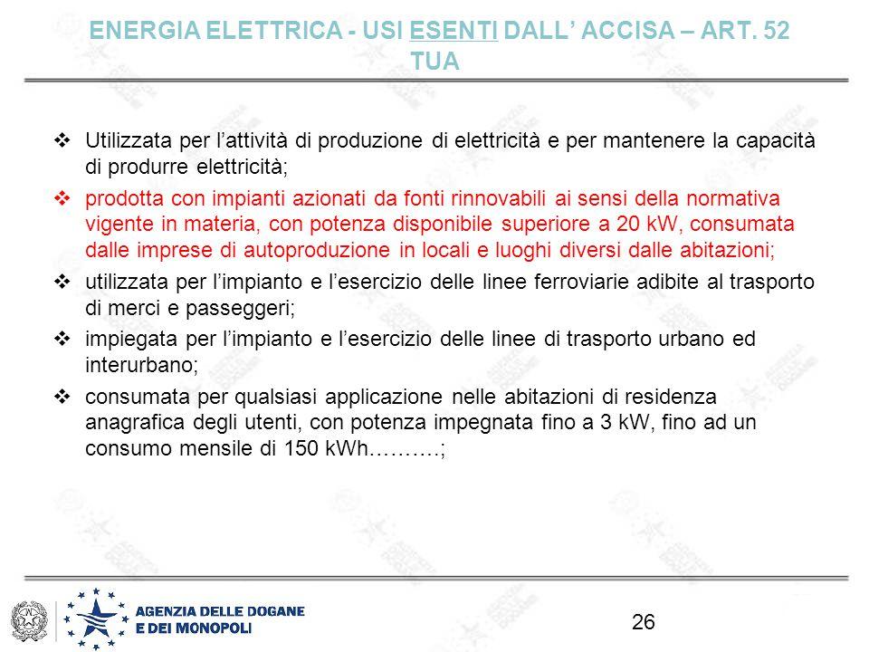 ENERGIA ELETTRICA - USI ESENTI DALL' ACCISA – ART. 52 TUA