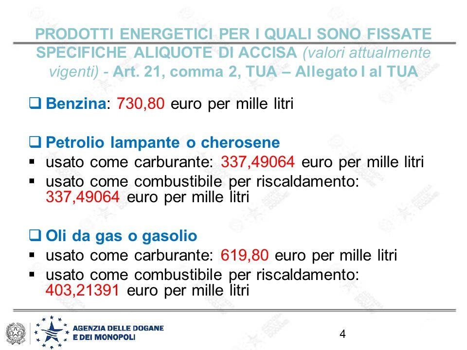 Benzina: 730,80 euro per mille litri Petrolio lampante o cherosene