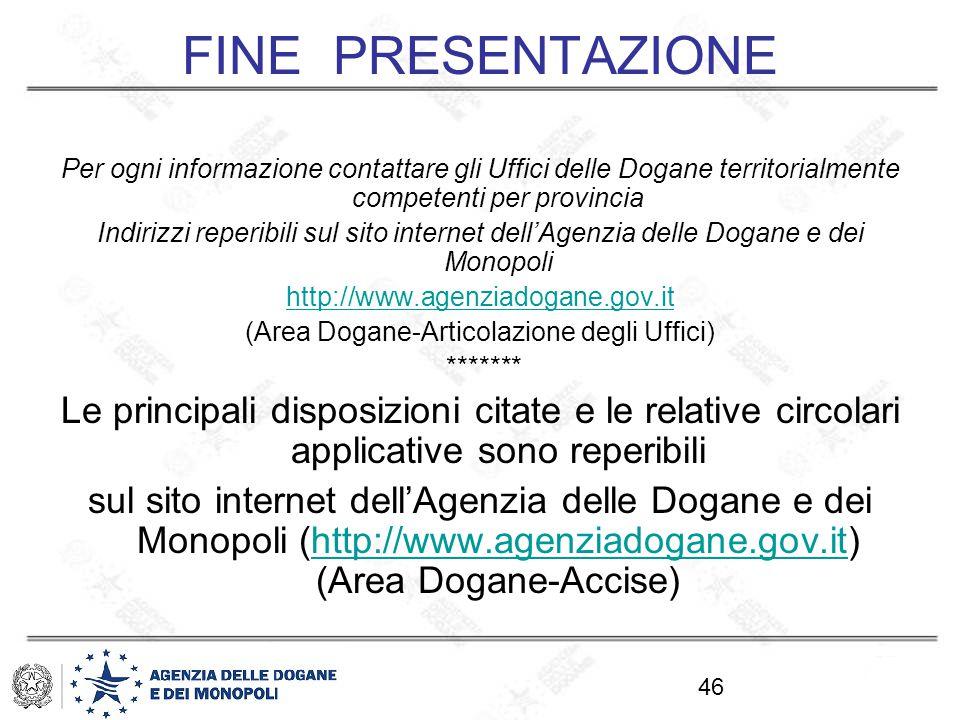 (Area Dogane-Articolazione degli Uffici)
